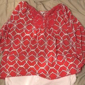 Crown & Ivy coral blouse size 3x